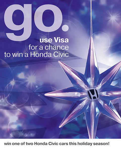 Win a honda civic by using your visa credit card for Honda credit card
