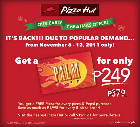 pizza hut palm card