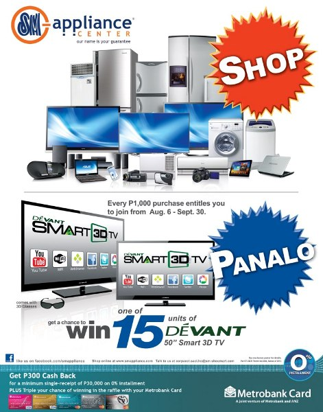 win devant smart 3d tv from sm appliance center philippine contests and promos. Black Bedroom Furniture Sets. Home Design Ideas