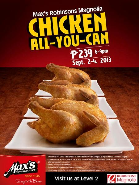 Max S Restaurant Robinsons Magnolia Chicken All You Can