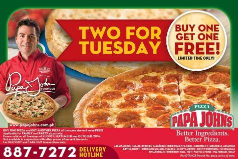 Apply this Papa John's promo code to get a 33% off discount on regular menu price items like pizza, breadsticks, soda, and more. Select locations only. Not valid on specials.