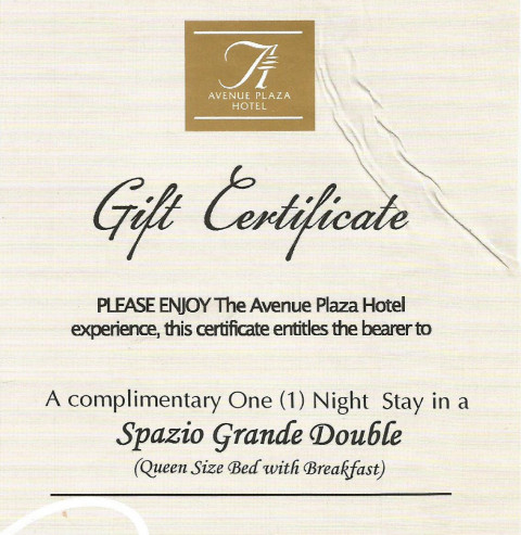 Avenue Plaza Hotel GC Giveaway