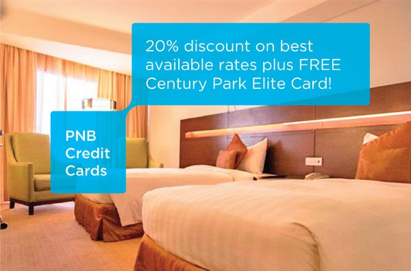 Enjoy 20% discount on best available rates plus FREE Century Park Elite Card when you book a room at Century Park Hotel using your PNB Credit Card!  Program Mechanics:  1. The promo is open to all active PNB-issued cards excluding Corporate and Distribution cards.  2. Promo period is from February 15 - June 30, 2015.  3. Cardholder must use his/her valid PNB credit card to avail of the discount with the free Century Park Elite Card.  4. Cardholder is entitled to:  • 20% discount based on Best Available Rates  • FREE Century Park Elite Card* inclusive of:      > FREE one (1) buffet lunch or dinner for two (2)**      > Cafe in the Park       50% discount for 2 diners       33% discount for 3 diners       25% discount for 4 diners       20% discount for solo diners or a group of 5 pax or more      > Other Food Outlets       20% discount excluding Deli Snack and special promotional items       10% discount on regular items at Deli Snack      > Accommodations       35% discount based on best available rates (suites not included)  *Valid for 1 year from date of issuance. **One-time availment only.  5. The Century Park Elite Card is valid for one (1) year. It is fully transferable but strictly not replaceable. Only one (1) membership card will be accepted per table per meal period. The regular price of an Elite Card is P2,000 net.  6. Advanced reservation is required at least seven (7) days before the arrival date. For inquiries and reservation, cardholder must call Century Park Hotel directly at (632) 528-8888 or (632) 528-5814 to 6. Cardholders must inform the Reservation Agent s/he will be availing the PNB credit card promo.   7. Reservation and stay dates must be within the promo period. Standard Cancellation Policy applies.   8. Offers are non-transferable, not convertible to cash or gift certificate and cannot be exchanged for other items.  9. The promo cannot be used in online bookings, in conjunction with other promotions, conventions, exhibits, banquets, group bookings, senior citizen discount or other discounts.  10. The Terms and Conditions governing issuance and use of PNB credit cards are incoporated herein by reference and made an integral part hereof.