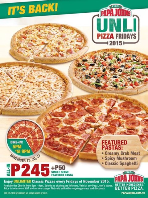 Papa John's Unli Pizza Fridays November 2015