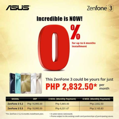 ASUS Zenfone 3 0% Installment